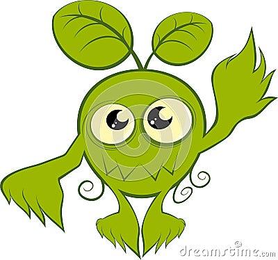 Green cartoon nature monster