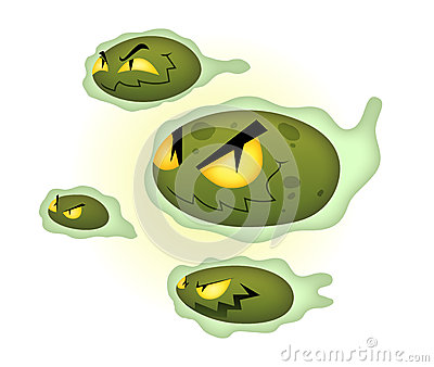 Green cartoon viruses