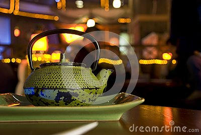 Green cast-iron teapot