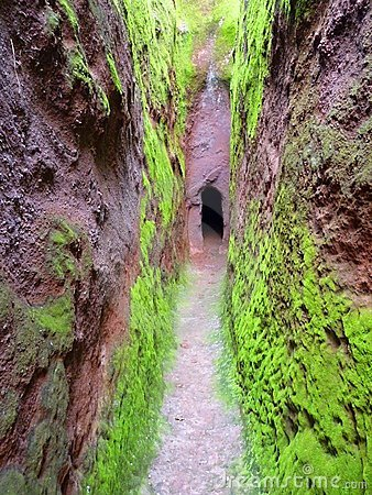 Green cavern walls