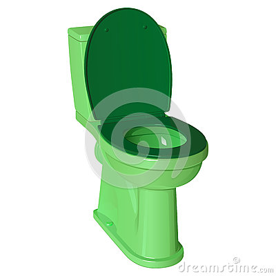 Free Green Ceramic Toilet Bowl With Raised Plastic Lid And Lowered Seat Stock Images - 91657674