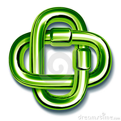 Green chain links linked together