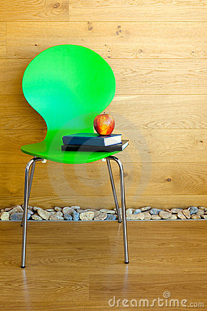 Green Chair, Red Apple and some Books