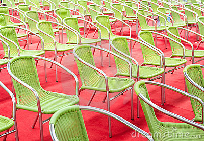 Green chairs rows