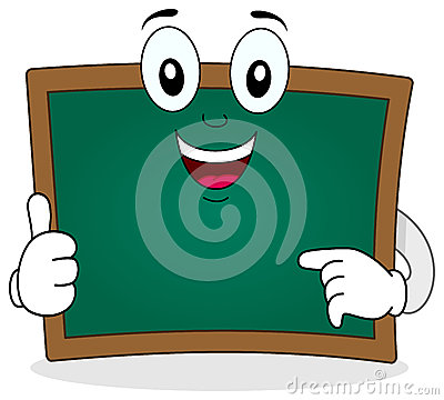 Green Chalkboard Smiling Character