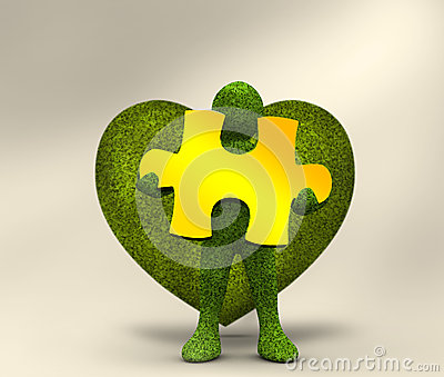 Green character holding a yellow jigsaw