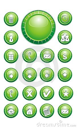 Green Chat Buttons, Contact, Email, Home, arrows