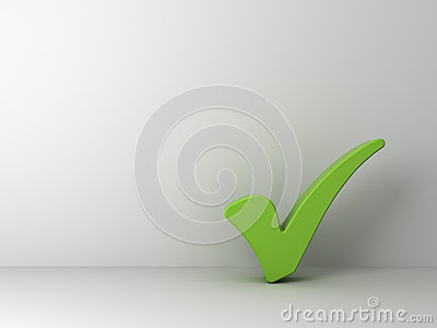 Green check mark on empty white wall