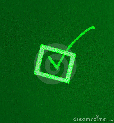 Green check or tick mark