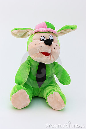 Green child toy dog of plush