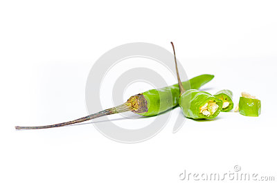 Green Chilli on a white background