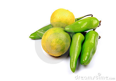 Green chillies and lemon
