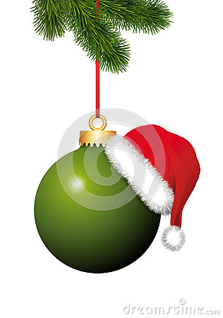 Free Green Christmas Ball With Santa Claus Hat Hanging On The Christmas Firtree Stock Image - 35640331