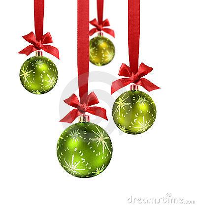 Free Green Christmas Balls Red Ribbon Stock Photos - 11434023