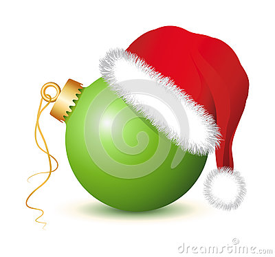 Free Green Christmas Baubles With Santa Claus Hat Stock Photography - 35631232