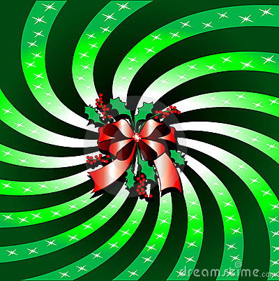 Green Christmas Bow Background