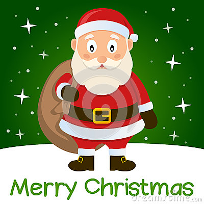 Green Christmas Card Santa Claus