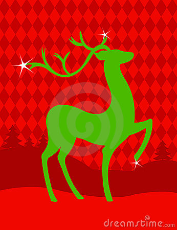 Green Christmas deer