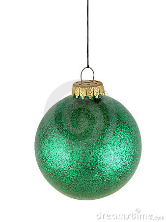 Green christmas glass ball on white background