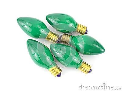Green Christmas light bulbs