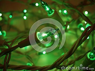Green Christmas Lights Aglow Stock Photo