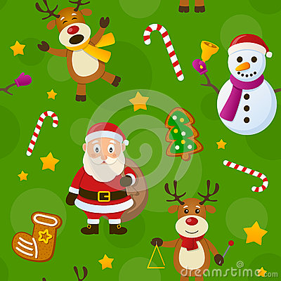Free Green Christmas Seamless Pattern Royalty Free Stock Images - 35411429