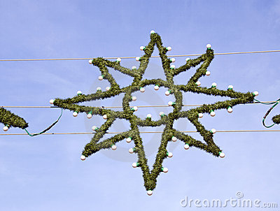 Green  Christmas star with bulbs