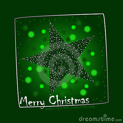 Green christmas star postcard illustration