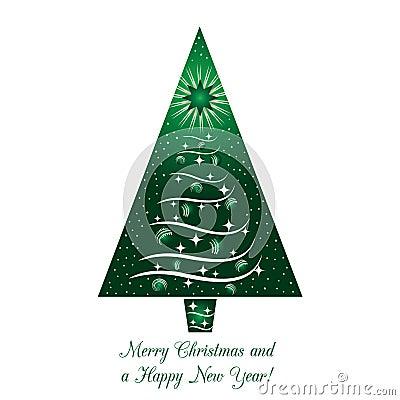 Green Christmas Tree Greeting Card