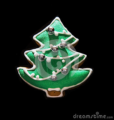 Free Green Christmas Tree Shaped Gingerbread Cookie Stock Photography - 59589472