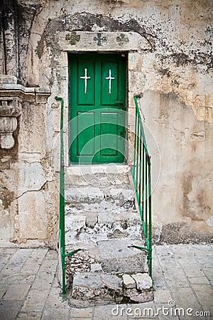 Green church door