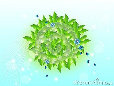 Green circle set of leaves