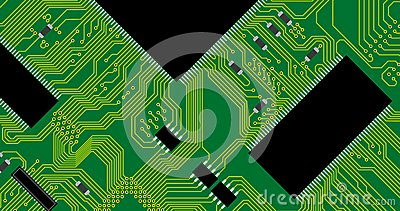 Green circuit board illustration.