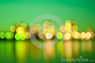 Green city lights