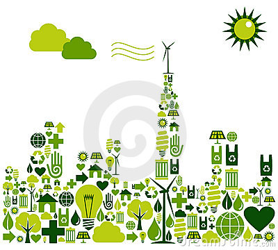 Free Green City Silhouette With Environmental Icons Stock Photos - 21851503