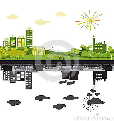 Free Green City Vs Polluted Stock Photo - 25706690