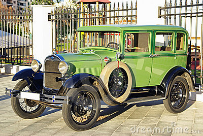 Green classical car