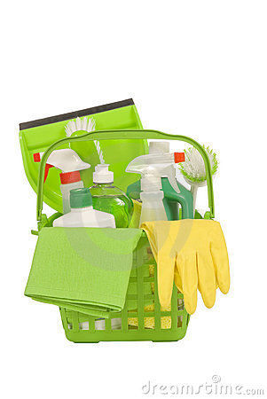 Green Cleaning Supplies with Rubber Gloves
