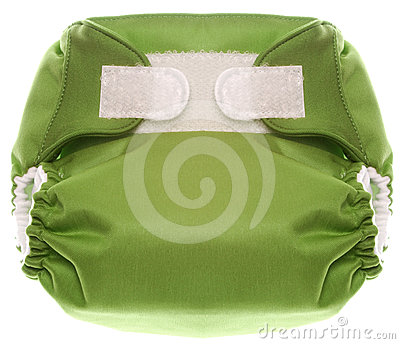 Green Cloth Diaper with Hook and Loop Closure
