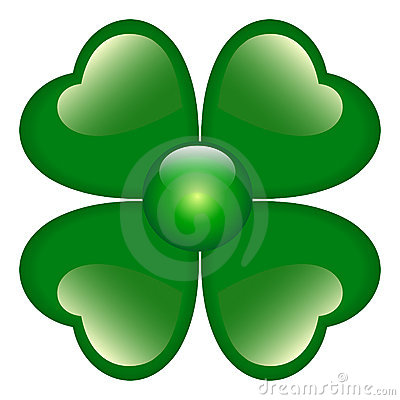 Green Clover with four leaves