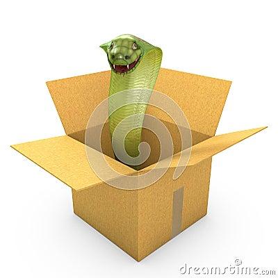 Green cobra in a carton box