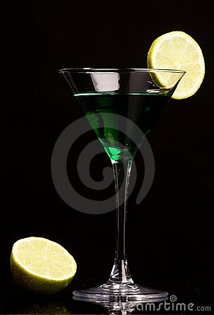 Green cocktail with green lemon