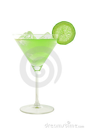 Green cocktail with slice of lime and ice cubes