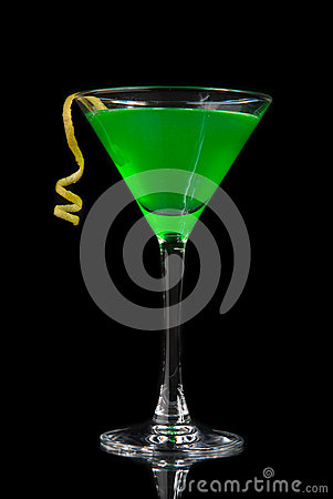 Free Green Cocktail With Absinth In Martini Glass For Halloween Night Stock Images - 44649304