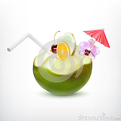Free Green Coconut Cocktail Royalty Free Stock Images - 66853989