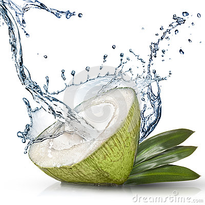 Green coconut with water splash