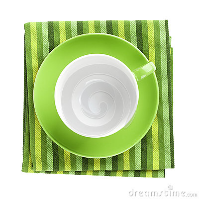 Free Green Coffee Cup Over Kitchen Towel Royalty Free Stock Image - 35767326