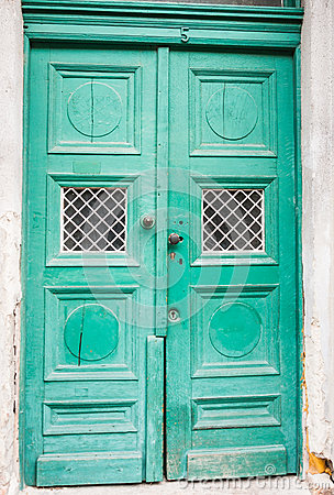 Green color, old style door