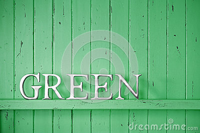 Green Color Word Background