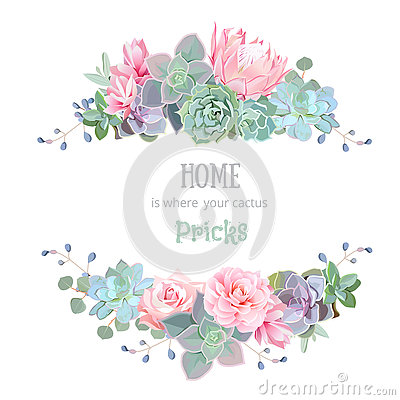 Green colorful succulents vector design round frame. Vector Illustration